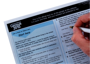2010 Census form, with hand and pen
