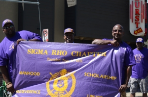 Omega Psi Phi group at Ypsilanti 4th of July parade, 2014.