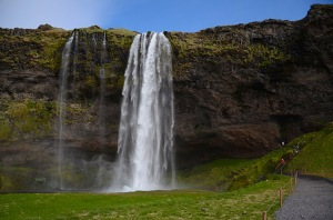 Hvolsvollur, ICELAND - JUN 15: Seljalandsfoss waterfall, shown here on June 15, 2015, was one of the stopping points in The Amazing Race 6 competition in 2014.