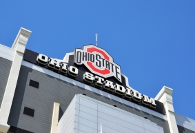 COLUMBUS, OH - JUNE 25: The sign for Ohio Stadium in Columbus, Ohio is shown on June 25, 2017. It is the home of the Ohio State University Buckeyes.