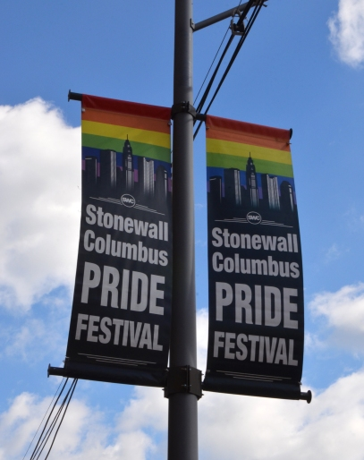 COLUMBUS, OH - JUNE 27: A sign for the Stonewall Columbus Pride Festival in Columbus, Ohio is shown on June 27, 2017. It is the second largest LGBTQ Pride festival in the Midwes.
